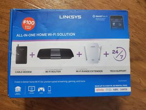 Brand new linksys Modem (CM3008), Router (EA6400) and range extender(RE6400) OBO for Sale in Plano, TX