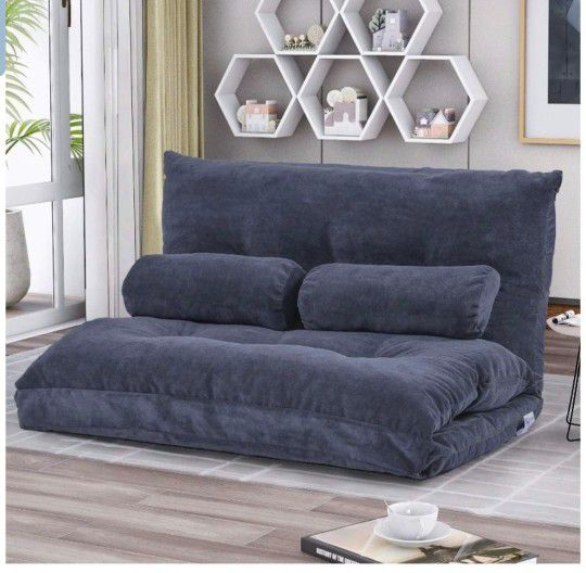 Floor Sofa Bed Adjustable Sleeper Bed Futon Bed Sofa Couches 5-Position Reclining Lazy Sofa with Two Pillows (Blue-Gray)