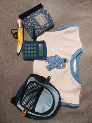 Build a bear cookie monster shirt backpack notebook plus for Sale in Phoenix, AZ