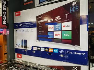 LOOK TCL 75 INCH 4K ROKU SMART TV HDR IN BOX WARRANTY - TAX INCL PRICE AND PMT OPT for Sale in Peoria, AZ