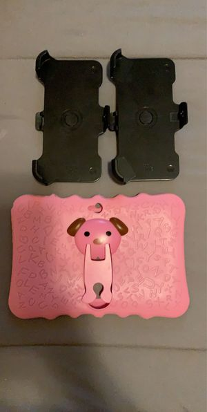 Girls pink tablet cover + 2 Samsung A10 belt Clip holster for Sale in Miami, FL