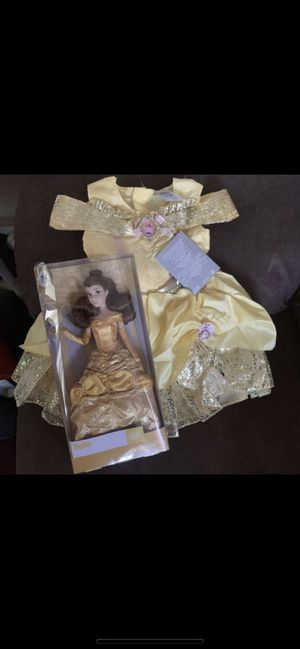 Disney Parks Belle Costume for Baby size 12-18 months new with tags and Belle Doll Serious inquires only please Low offers will be ignored Pick up for Sale in Pico Rivera, CA