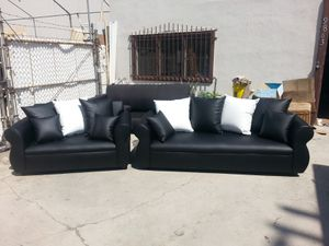 NEW BLACK LEATHER COUCHES for Sale in Costa Mesa, CA