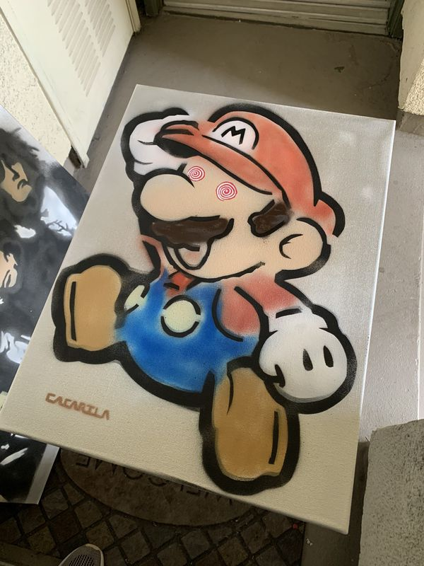 Super Mario 18x24 Graffiti Canvas