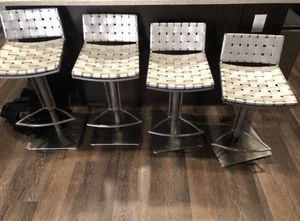 (4) Safavieh Mitchell Grey Leather Seat Stainless-Steel Adjustable 22-31-inch Modern Bar Stools for Sale in Englewood, CO