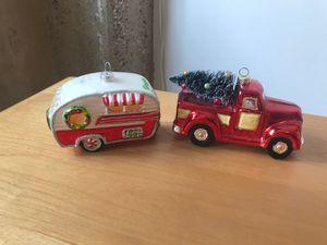 Cute retro style truck and trailer glass ornament set for Sale in Dallas, TX