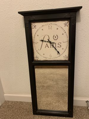 Paris Wall Clock with Mirror for Sale in Redmond, WA