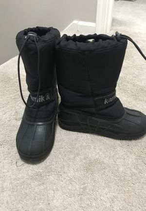 Black size 2 kids Kamik snow boots for Sale in Naperville, IL