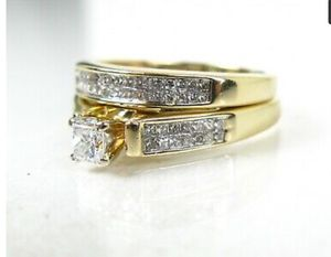 14k Yellow Gold Princess Cut Natural 1.00ctw Diamond Wedding Set for Sale in Fountain Valley, CA