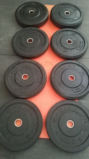 ( EXERCISE FITNESS 365 ) NEW CONDITION FULL SET OF HI-TEMP BUMPER PLATES for Sale in Long Beach, CA