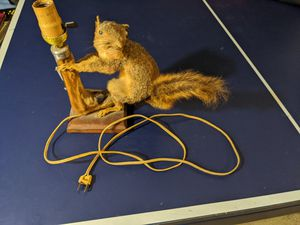 Antique Handmade Squirrel & Deer Taxidermy Lamp Folk Art READ for Sale in Canton, OH