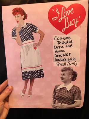 """Lucille Ball Halloween Costume including Blue Polka Dot Dress and """"I Love Lucy"""" Apron (wig and bow NOT included) Size Small (6-8) for Sale in Atlanta, GA"""