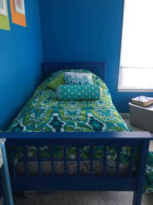 Twin bed- wood- blue for Sale in Centreville, VA
