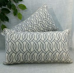 """New (set of 2) Natural Linen Pillows with Embroidered Stiched Pattern 22""""x13"""" *PICKUP ONLY* home decor, throw pillows, couch cushions, boho, for Sale in Mesa,  AZ"""