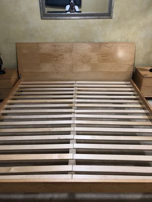 Natural Wood King Bed Set w/Mattress, 2 Night Stands, TVStand & Armoire for Sale in Upper Marlboro, MD