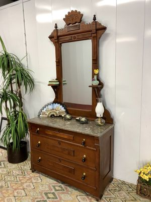 Antique Marble Top Eastlake Wood Carved Dresser with Mirror for Sale in Boynton Beach, FL