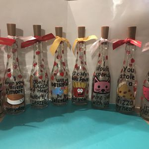Valentine Decorated Bottles With Lights for Sale in Burlington, NJ