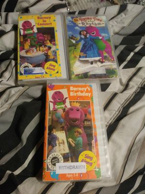 BARNEY PURPLE DINOSAUR LOT OF 3 VHS: BIRTHDAY, IN Concert & Rhyme Time Rhythm for Sale in Pahrump, NV