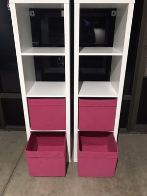 2 IKEA KELLAX 4 x 1 CUBE BOOKCASE S WITH 2 PINK INSERT BOXES $50 EACH for Sale in San Diego, CA