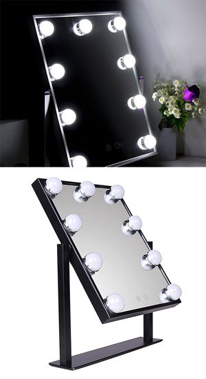 """New $50 Small Vanity Mirror w/ 9 Dimmable LED Light Bulbs Beauty Makeup 10x12"""" (Black or White) for Sale in Whittier, CA"""