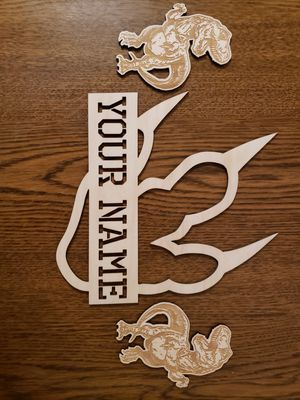3 Piece Personalized wood dinosaur footprint sign for Sale in Quincy, IL