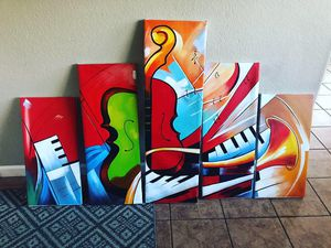 Abstract jazz instruments art wall decor 10'x 6' for Sale in Sacramento, CA