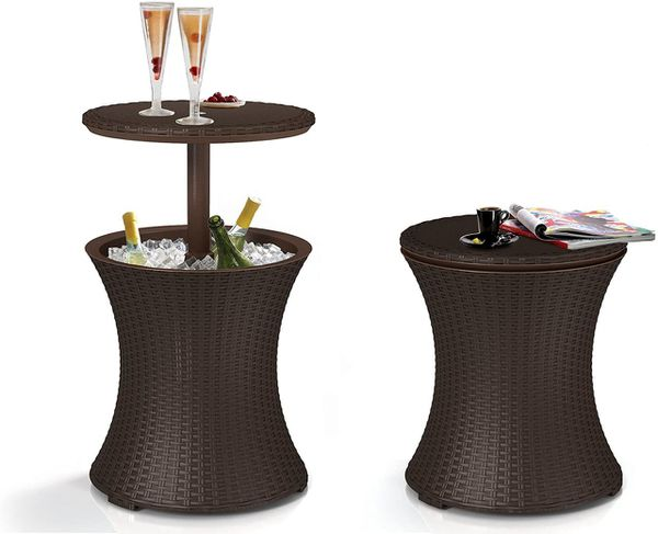 Pacific Cool Bar Outdoor Patio Furniture and Hot Tub Side Table with 7.5 Gallon Beer and Wine Cooler, Espresso Brown