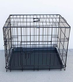 "$25 New In Box Double Door 24"" Dog Crate Cage Folding Metal Kennel, Plastic Tray And Divider 24x17x19 Inches for Sale in Santa Fe Springs,  CA"
