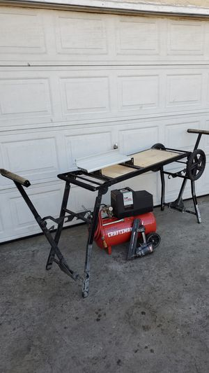 Miter saw stand air compressor and nail gun for Sale in Long Beach, CA