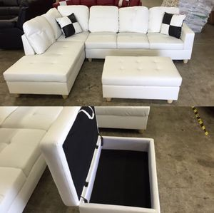 New sofa white leatherette sectional couch with pillows and ottoman new on sealed box unopened unused PAYMENT Upon DELIVERY for Sale in Vancouver, WA