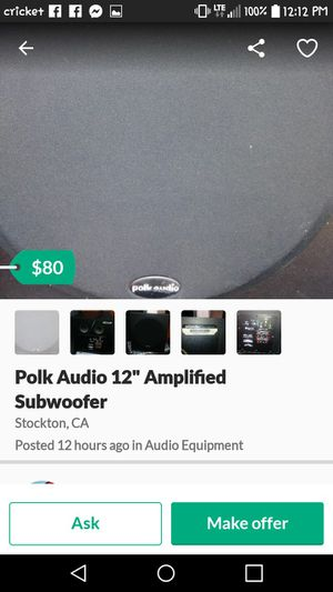 "12"" Polk Audio Amplified for Sale in Stockton, CA"