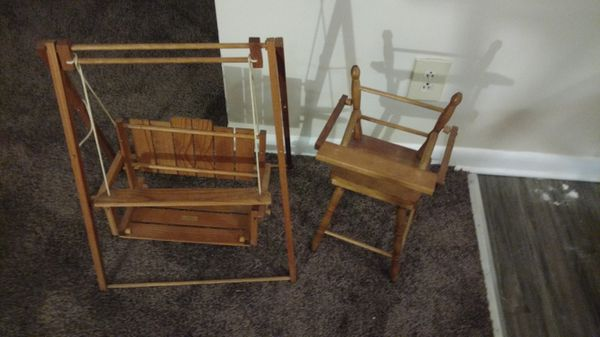 Handmade large doll high chair and swing set