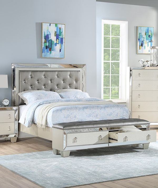 VINTAGE GLAM SILVER GRAY FINISH MIRROR TRIM CAL EASTERN KING SIZE BED FRAME BENCH DRAWERS - CAMA - NO INCLUYE COLCHON SOLO MARCO CAJONES