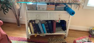 2 wicker shelves and wicker tv stand with wheels. Great storage for Sale in Richmond, VA