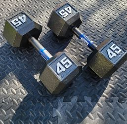 NEW 45lbs Hex Dumbbell weight set (90lbs total) ▪︎FREE DELIVERY ✅✅ ▪︎ for Sale in Union City,  CA