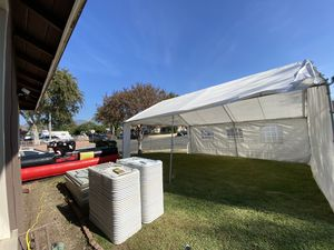 Tents bull chairs tables heaters jumpers for Sale in Chino, CA