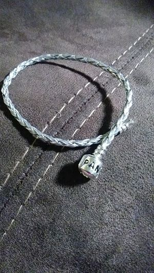 Silver leather pandora style bracelet for Sale in Chelsea, MA
