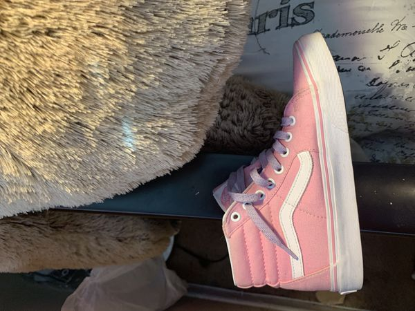 High top pink and white vans