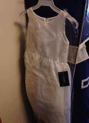 Sz 6-8 child's flower girl dress why w/ separate brown band for Sale in Campbell, CA
