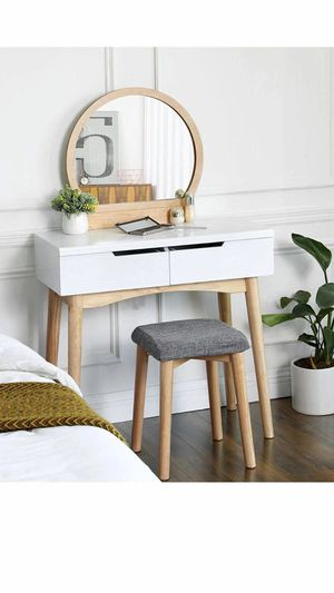 Vanity Table Set with Round Mirror 2 Large Drawers with Sliding Rails Makeup Dressing Table with Cushioned Stool, Natural and White for Sale in Corona, CA