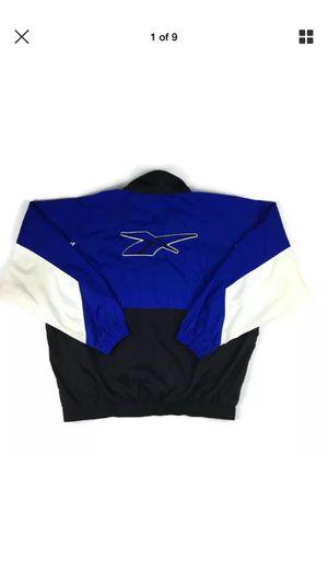 Vintage Size Large Reebok Windbreaker Jacket 90s Blue Black White Big Logo for Sale in West Palm Beach, FL