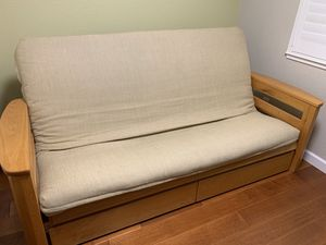 Oak wood futon frame and mattress for Sale in San Jose, CA