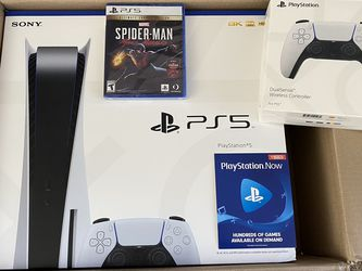 PS5 Playstation 5 Bundle Disc Edition W/ Extra Sauce Controller, Spider Man , PS Now Brand New Sealed for Sale in Union City,  CA