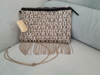 Silver Beadwork Clutch With Fringe Chains for Sale in Fairfax,  VA