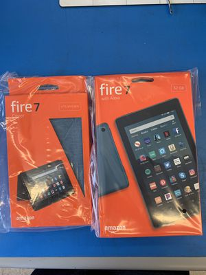 Amazon Fire 7 Tablet (9th Gen) 32gb + Cover (Twilight Blue) for Sale in Hayward, CA