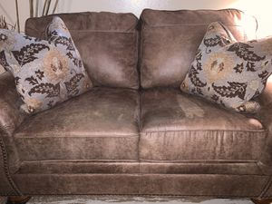 Like new soft leather sofa love seat light brown for Sale in Denver, CO
