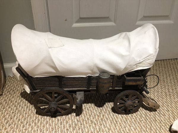 """Vintage Wooden Covered Wagon (18"""") and Lamp (11"""")"""