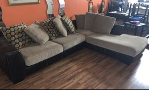 Brown leather couch with brown cushions. for Sale in Washington, DC