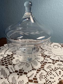 Princess House Crystal Heritage #430 Glass Candy Dish with Lid Authentic Piece for Sale in Grandville,  MI