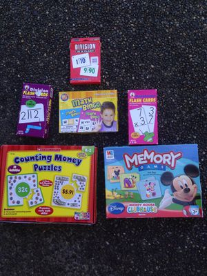 Scholastic Counting Money Puzzle, Division and Multiplication Flash Cards, and Mickey Mouse Memory Game for Sale in Sumner, WA
